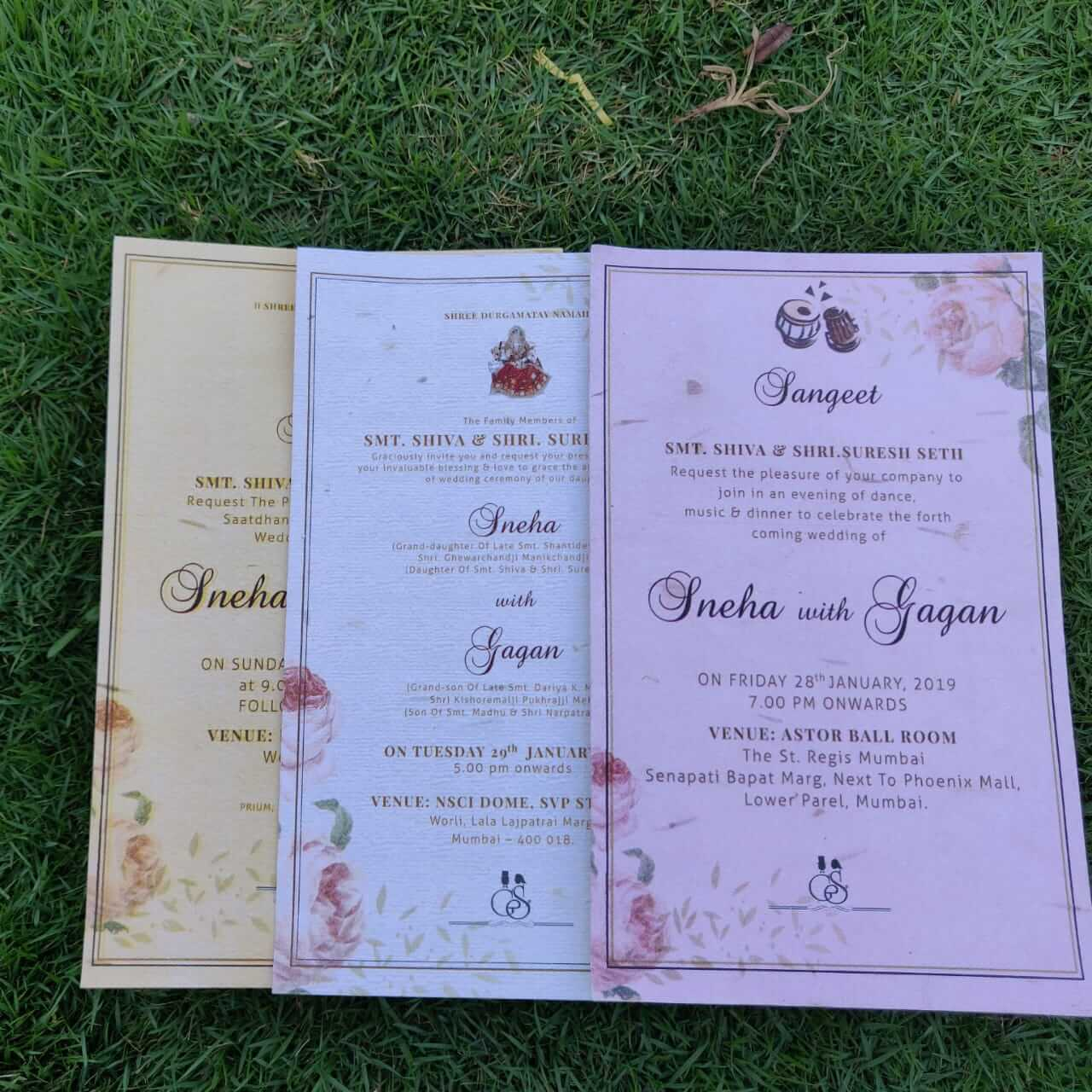 Eco Friendly Plantable Seed Paper Wedding Invitation Card Triple Damask