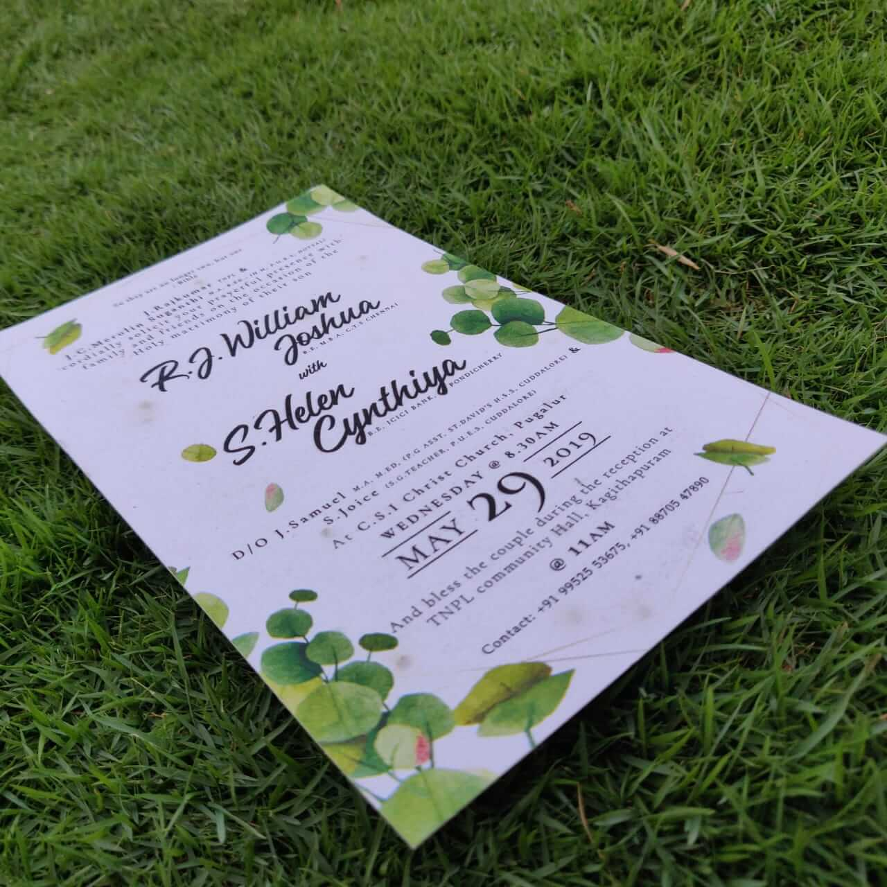 Eco Friendly Plantable Seed Paper Wedding Invitation Card Green Leaf