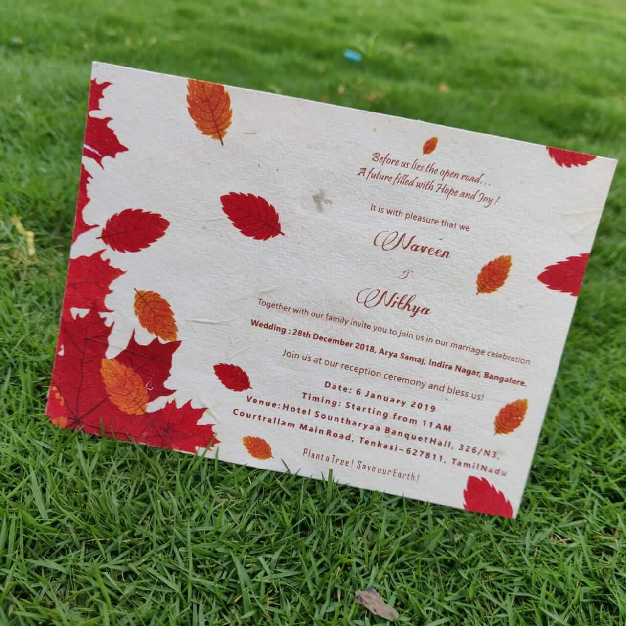 Eco Friendly Plantable Seed Paper Wedding Invitation Card Autumn Red